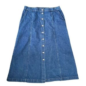 Vintage Button down denim maxi skirt size 16